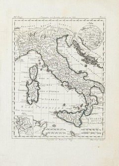 Ancient Map of Italy - Original Etching - 19th Century