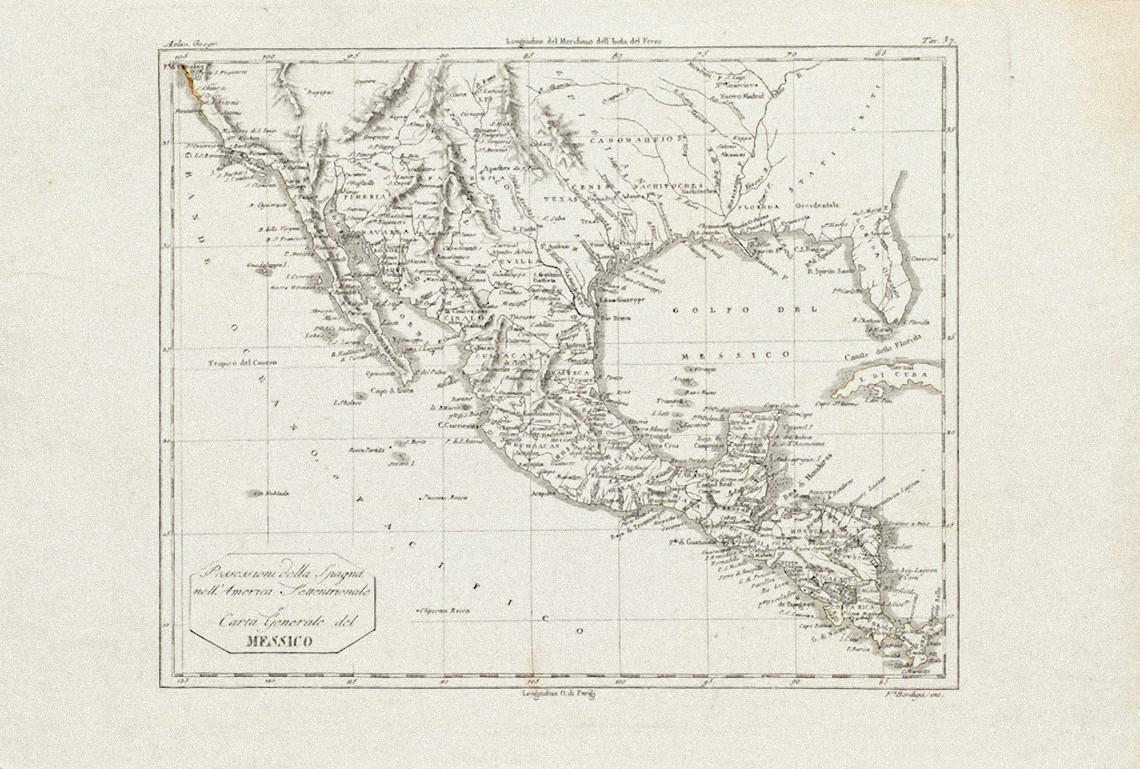 Ancient Map of Mexico - Original Etching - 19th Century
