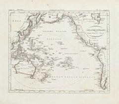 Ancient Map of Oceania - Original Etching - 19th century