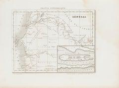 Ancient Map of Senegal - Original Etching - 19th Century