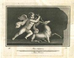 Ancient Roman Fresco - Original Etching - 18th Century