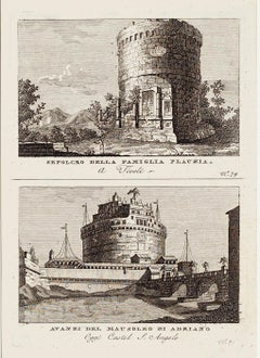 Ancient Roman Ruins - Original Etching and Drypoint - Late 1700