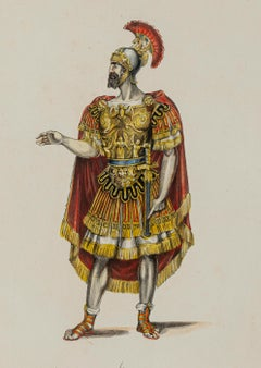 Ancient Roman Soldier - Original Lithograph - Early 20th Century