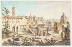 Ancient Rome - Original Hand Watercolored Etching - 19th Century