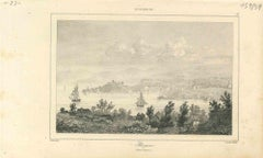 Ancient View of  Bergen - Original Lithograph on Paper - Early 19th Century