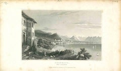Ancient View of Bregrenz - Original Lithograph on Paper - Mid-19th Century