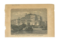 Ancient View of Canal Grande, Venice - Original Lithograph - Early 19th Century