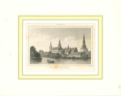 Ancient View of Chateau de Frederiksborg - Lithograph on Paper - Early 1800