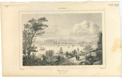 Ancient View of Christiania - Original Lithograph on Paper - Early 19th Century