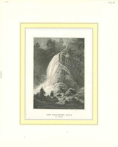 Ancient View of Der Gollynger Fall - Original Lithograph - Early 19th Century