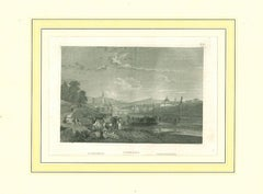 Ancient View of Florence - Original Lithograph on Paper - 19th Century