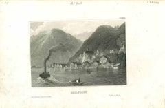 Ancient View of Hallstadt - Original Lithograph on Paper - Mid-19th Century