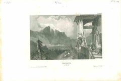 Ancient View of Innsbruck - Original Lithograph on Paper - Mid-19th Century