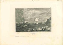 Ancient View of La Valetta - Original Lithograph - Early-19th Century
