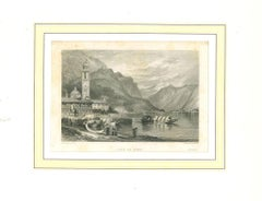 Ancient View of Lake of Como - Original Lithograph on Paper - 19th Century