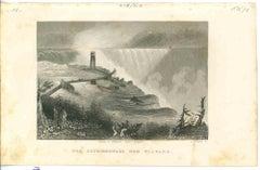 Ancient View of Niagara Waterfalls - Original Lithograph - 1850s