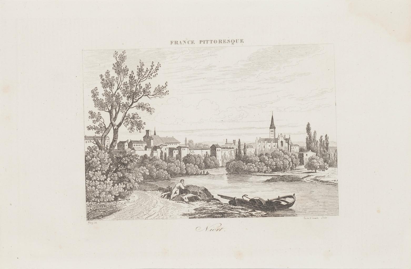 Ancient View of Niort - Original Etching - 19th Century