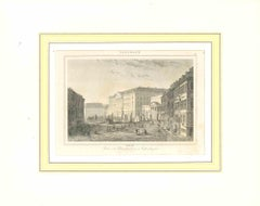 Ancient View of Palais de Christianborg - Original Lithograph-Early 19th Century