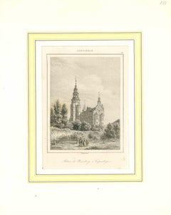 Ancient View of Palais de Rosenberg - Lithograph on Paper - Early 19th Century
