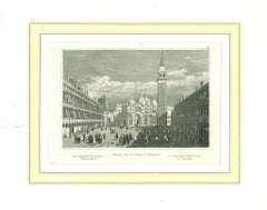 Ancient View of Piazza San Marco, Venice - Lithograph on Paper - 19th Century