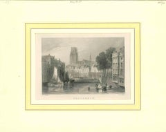 Ancient View of Rotterdam Original Lithograph on Paper - Early 19th Century