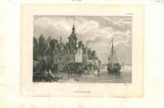 Ancient View of Rotterdam - Original Lithograph on Paper - Early 19th Century