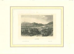 Ancient View of Salzburg  - Original Lithograph on Paper - Early 19th Century