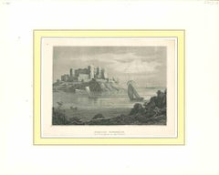 Ancient View of Schloss Borgholm - Original Lithograph - Early 19th Century