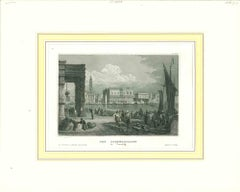 Ancient View of the Doge Palace Venice - Original Lithograph - 19th Century