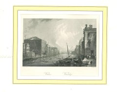 Ancient View of Venice - Original Lithograph on Paper - 19th Century
