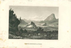 Ancient View of Veste Kufstein - Original Lithograph on Paper - Mid-19th Century