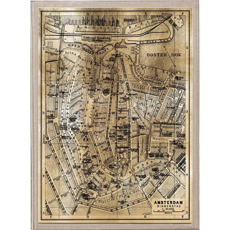 Unknown - Antique City Maps, Amsterdam, gold leaf, acrylic box frame on
