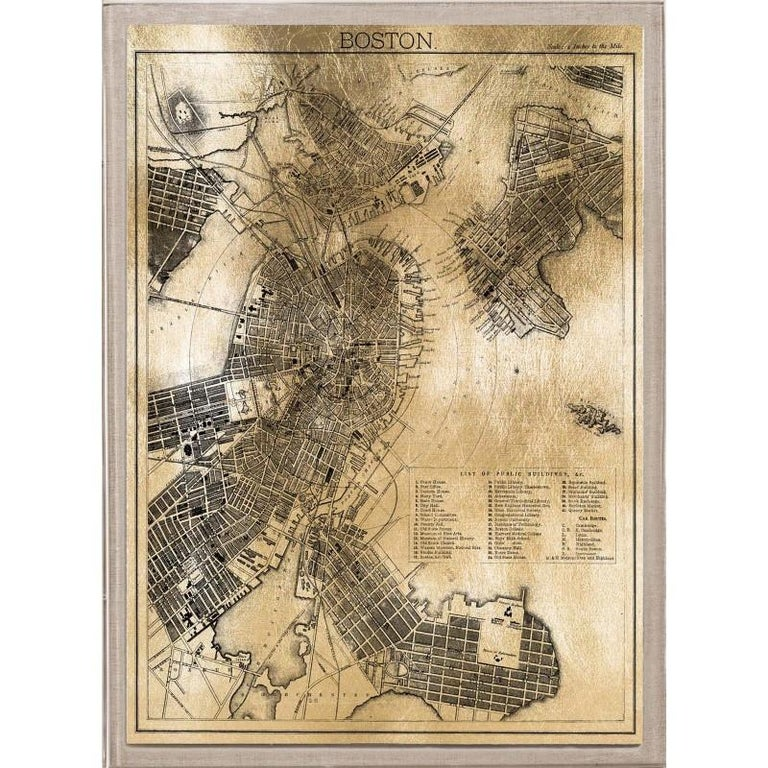 Antique Boston Map.Unknown Antique City Maps Boston Gold Leaf Acrylic Box Frame