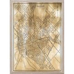 Antique City Maps, Dallas, gold leaf, acrylic box frame