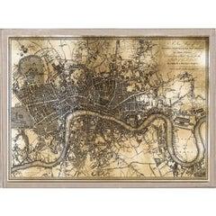 Antique City Maps, London, gold leaf, acrylic box frame