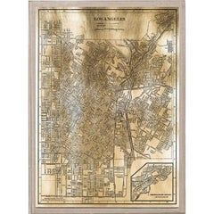 Antique City Maps, Los Angeles, gold leaf, acrylic box frame