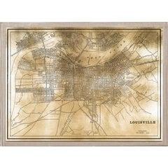 Antique City Maps, Louisville, gold leaf, acrylic box frame