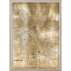 Antique City Maps, Nashville, gold leaf, acrylic box frame