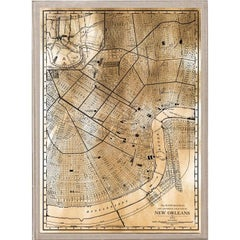 Antique City Maps, New Orleans, gold leaf, acrylic box frame