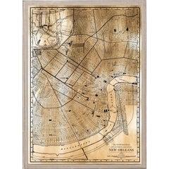Antique City Maps, New Orleans, gold leaf, unframed