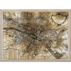 Antique City Maps, Paris, gold leaf, acrylic box frame