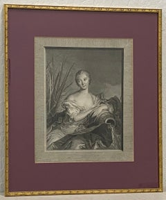 Antique European School Engraving Portrait of a Woman with Water Jug