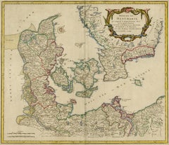 Antique map of Denmark and Jutland by de Vaugondy - Handcol. engraving - 18th c.