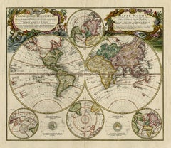 Antique world map - Mappe Monde by Lowitz - Handcoloured engraving - 18th c.