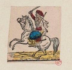 Arab Knight  - Original Hand-color Etching on Paper - 18th Century