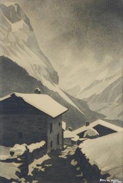 Art Deco Mountain Snow Scene Signed Gisele Berne de Geavisie c1933