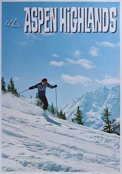 Aspen Highlands Vintage Ski Poster (c.1970) Maroon Bells Mountains