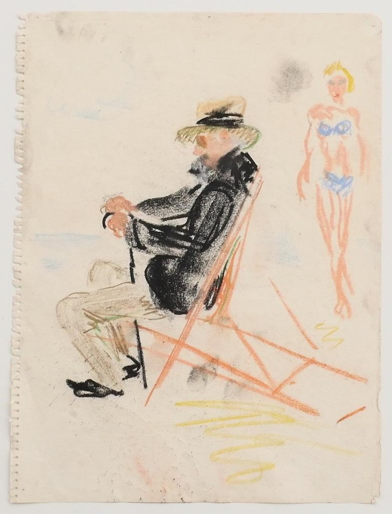 Unknown Portrait Print - At the Beach - Original Pastel - Mid-20th Century