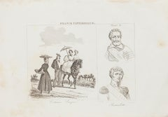 Basques Costumes - Original Lithograph  - 19th Century