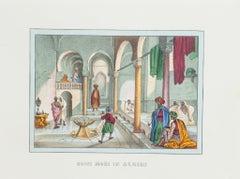 Bath in Algeria - Original Lithograph - 1846